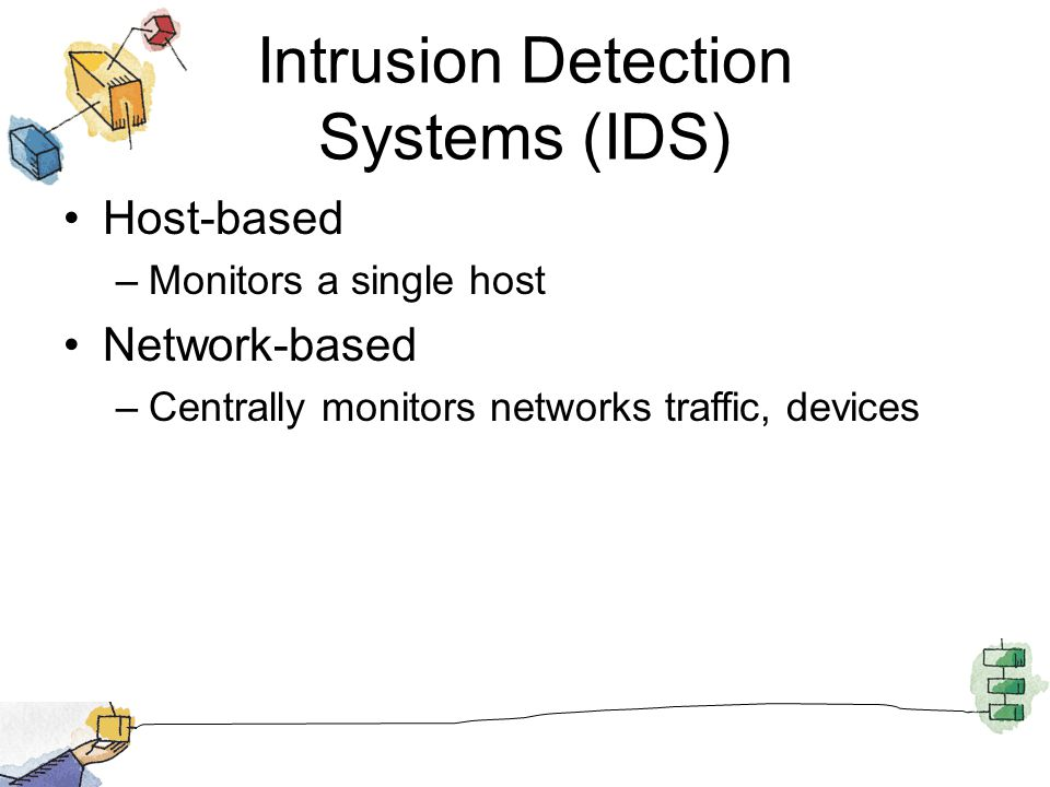 Intrusion Detection Systems (IDS) Host-based –Monitors a single host Network-based –Centrally monitors networks traffic, devices