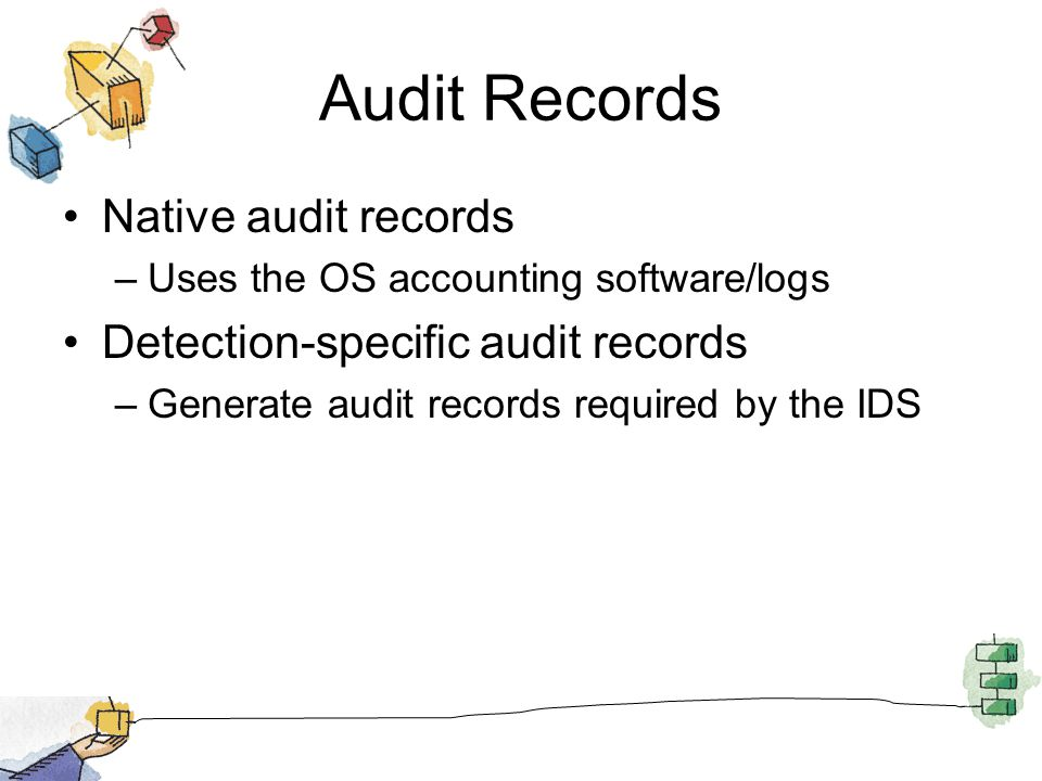 Audit Records Native audit records –Uses the OS accounting software/logs Detection-specific audit records –Generate audit records required by the IDS