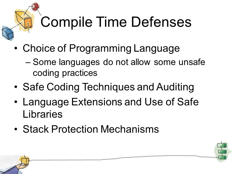 Compile Time Defenses Choice of Programming Language –Some languages do not allow some unsafe coding practices Safe Coding Techniques and Auditing Lan