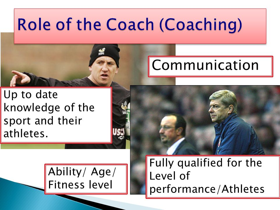 Up to date knowledge of the sport and their athletes. Fully qualified for the Level of performance/Athletes Ability/ Age/ Fitness level Communication