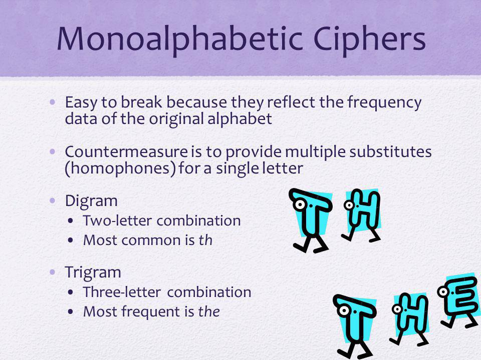 Monoalphabetic Ciphers Easy to break because they reflect the frequency data of the original alphabet Countermeasure is to provide multiple substitute