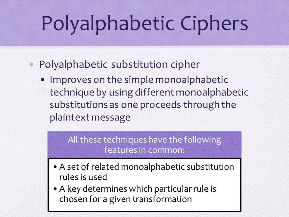 Polyalphabetic Ciphers Polyalphabetic substitution cipher Improves on the simple monoalphabetic technique by using different monoalphabetic substituti