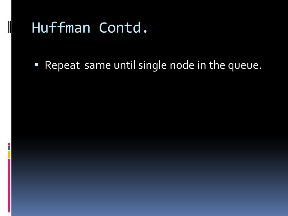 Huffman Contd. Repeat same until single node in the queue.