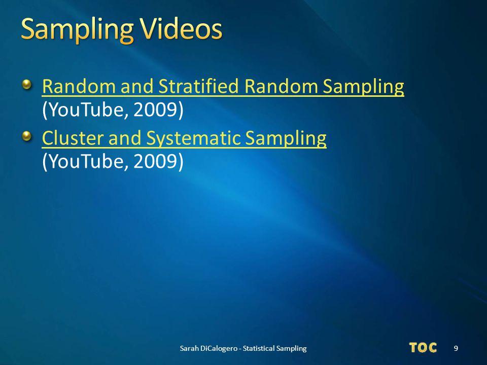 Random and Stratified Random Sampling Random and Stratified Random Sampling (YouTube, 2009) Cluster and Systematic Sampling Cluster and Systematic Sam
