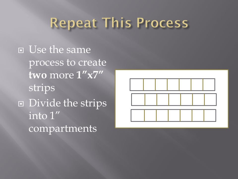 Use the same process to create two more 1x7 strips Divide the strips into 1 compartments