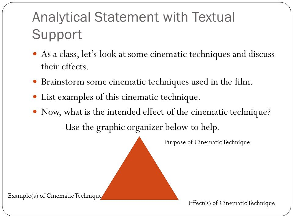 Analytical Statement with Textual Support As a class, lets look at some cinematic techniques and discuss their effects. Brainstorm some cinematic tech