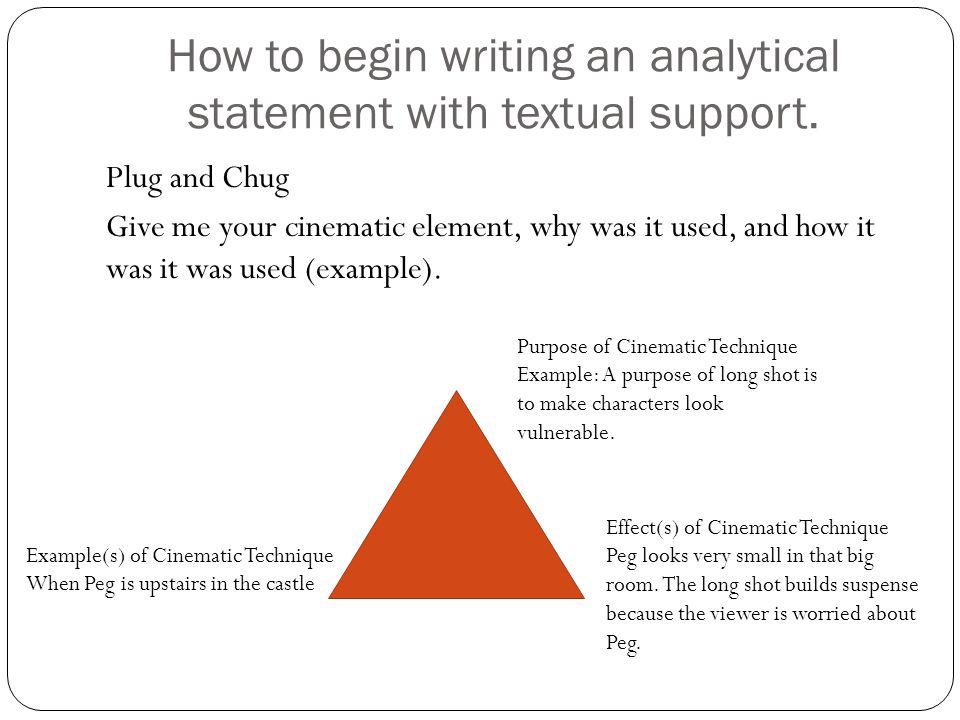 How to begin writing an analytical statement with textual support. Plug and Chug Give me your cinematic element, why was it used, and how it was it wa