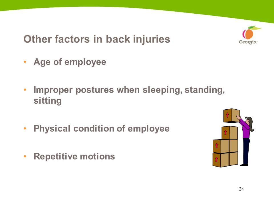 34 Other factors in back injuries Age of employee Improper postures when sleeping, standing, sitting Physical condition of employee Repetitive motions