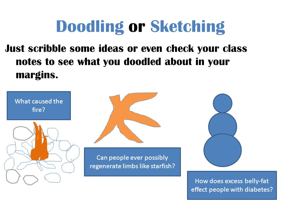 Doodling or Sketching Just scribble some ideas or even check your class notes to see what you doodled about in your margins. What caused the fire? Can