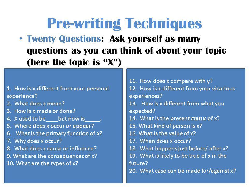 Pre-writing Techniques Twenty Questions: Ask yourself as many questions as you can think of about your topic (here the topic is X) 1.