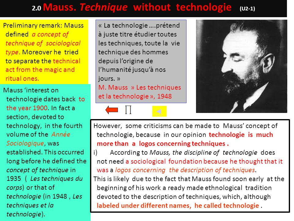 Preliminary remark: Mauss defined a concept of technique of sociological type. Moreover he tried to separate the technical act from the magic and ritu