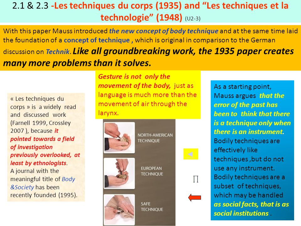 2.1 & 2.3 -Les techniques du corps (1935) and Les techniques et la technologie (1948) (U2-3) As a starting point, Mauss argues that the error of the p