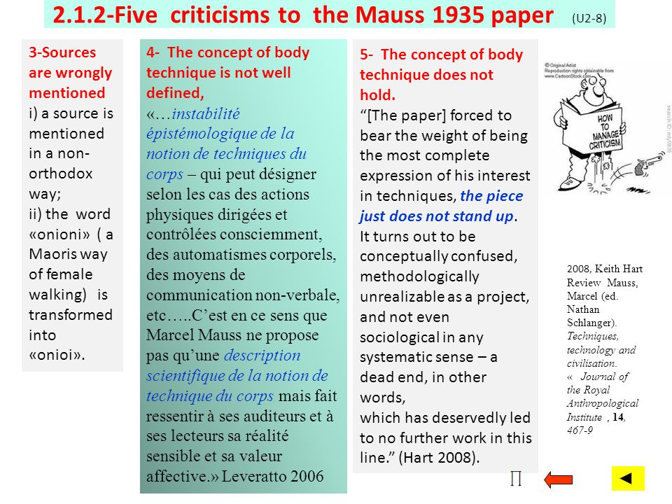 2.1.2-Five criticisms to the Mauss 1935 paper (U2-8) 2008, Keith Hart Review Mauss, Marcel (ed. Nathan Schlanger). Techniques, technology and civilisa