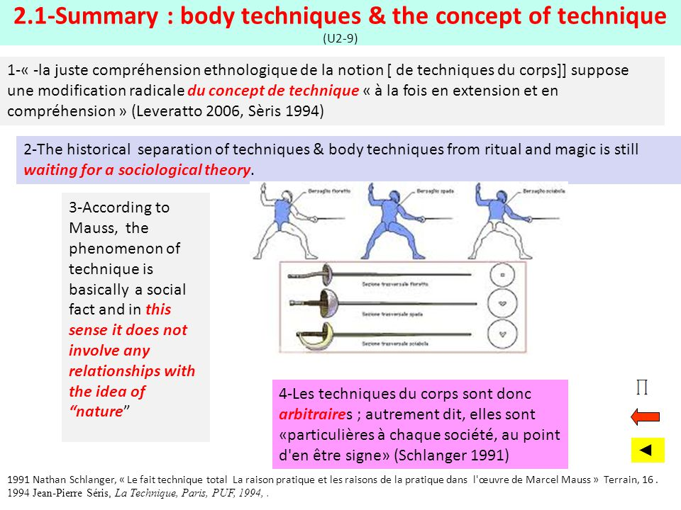 2.1-Summary : body techniques & the concept of technique (U2-9) 3-According to Mauss, the phenomenon of technique is basically a social fact and in th