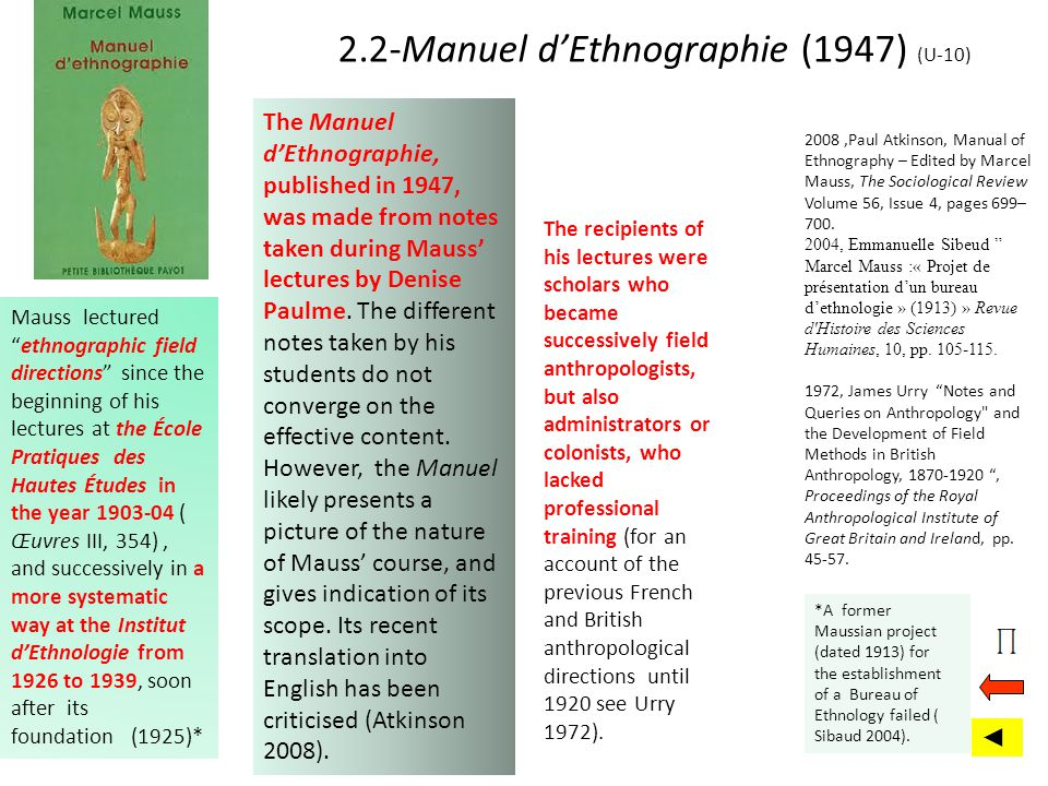 2.2-Manuel dEthnographie (1947) (U-10) The Manuel dEthnographie, published in 1947, was made from notes taken during Mauss lectures by Denise Paulme.