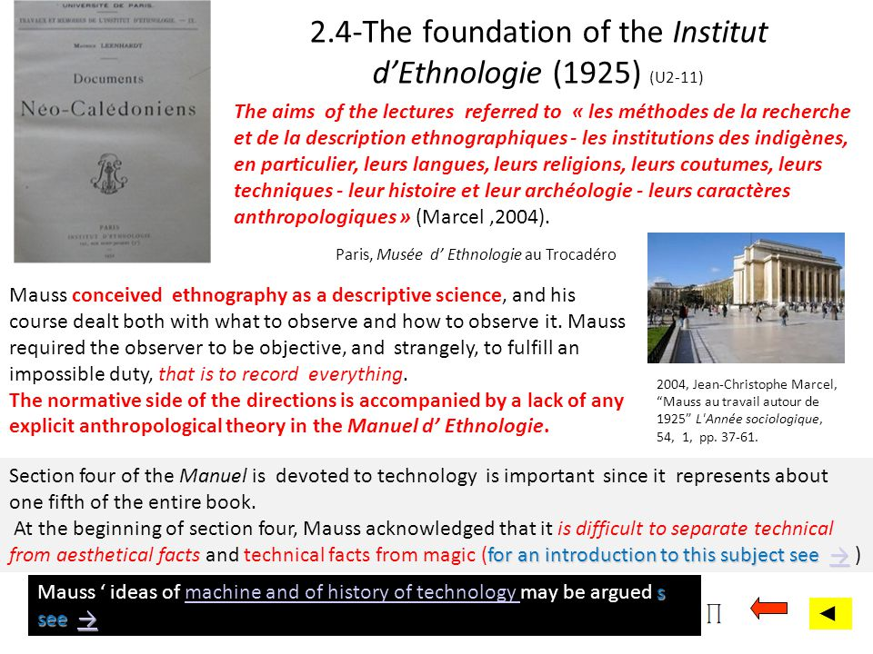 2.4-The foundation of the Institut dEthnologie (1925) (U2-11) Mauss conceived ethnography as a descriptive science, and his course dealt both with wha