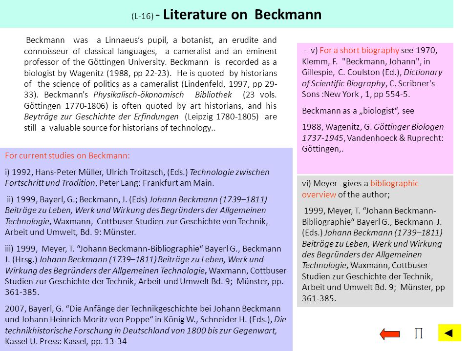 (L-16) - Literature on Beckmann. For current studies on Beckmann: i) 1992, Hans-Peter Müller, Ulrich Troitzsch, (Eds.) Technologie zwischen Fortschrit