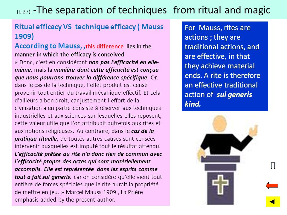 (L-27)- -The separation of techniques from ritual and magic Ritual efficacy VS technique efficacy ( Mauss 1909) According to Mauss,, this difference l