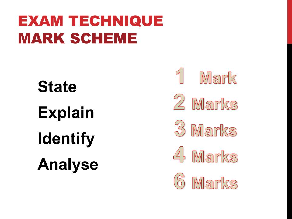 EXAM TECHNIQUE MARK SCHEME State Explain Identify Analyse