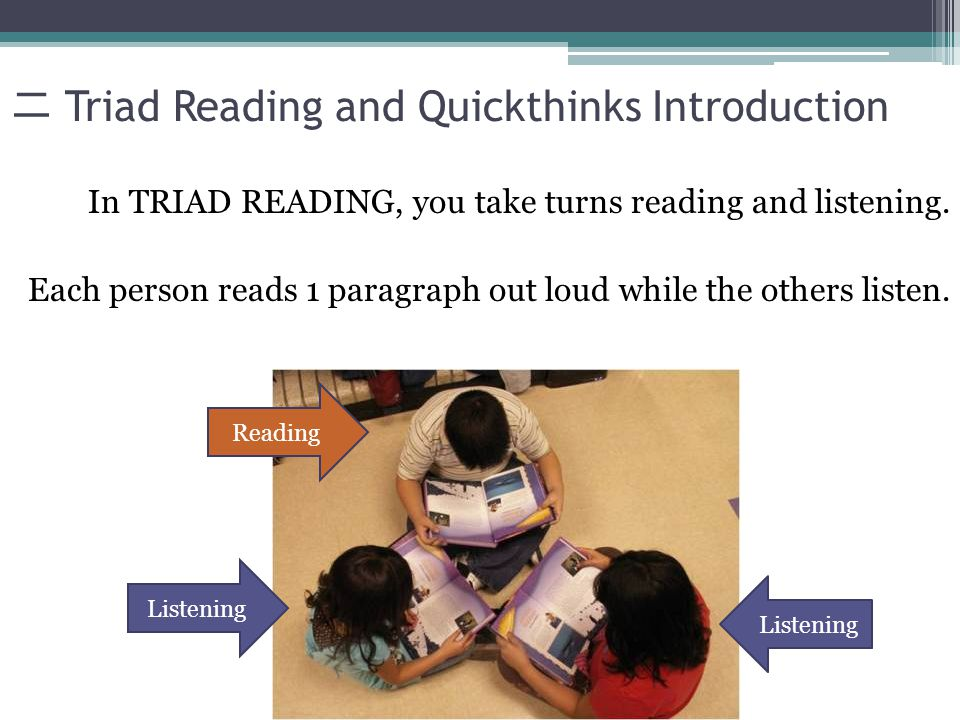 Triad Reading and Quickthinks Introduction In TRIAD READING, you take turns reading and listening.