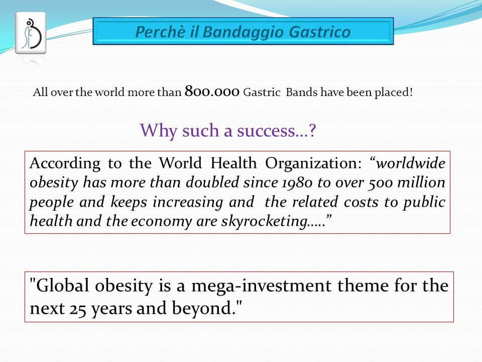 Why such a success…? All over the world more than 800.000 Gastric Bands have been placed! According to the World Health Organization: worldwide obesit