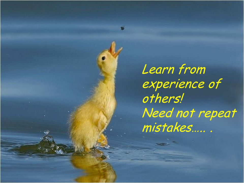 Learn from experience of others! Need not repeat mistakes…...
