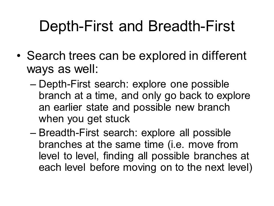 Example Depth-First Search X repeat The numbers indicate the order in which branches/states are explored 1 2 3 4 5 etc 6