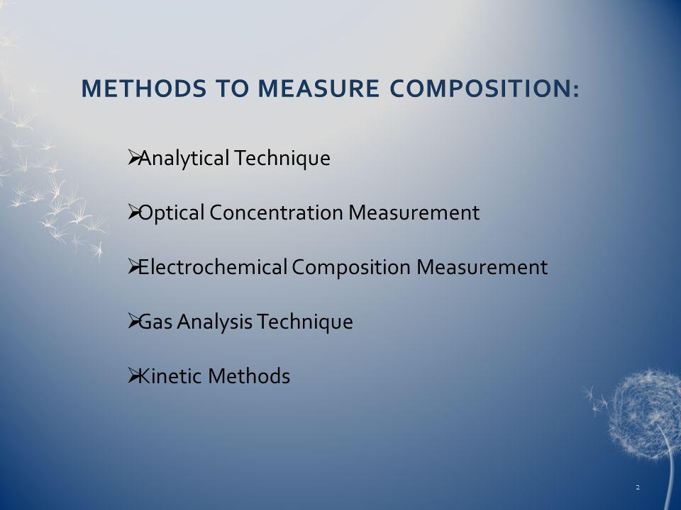 METHODS TO MEASURE COMPOSITION: Analytical Technique Optical Concentration Measurement Electrochemical Composition Measurement Gas Analysis Technique