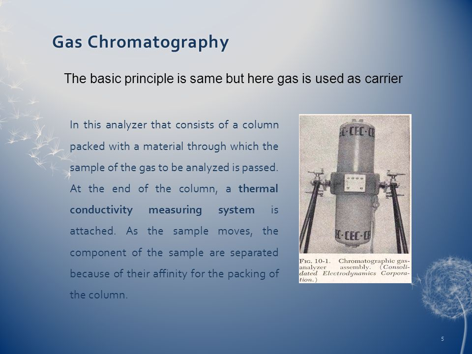 Gas ChromatographyGas Chromatography In this analyzer that consists of a column packed with a material through which the sample of the gas to be analy