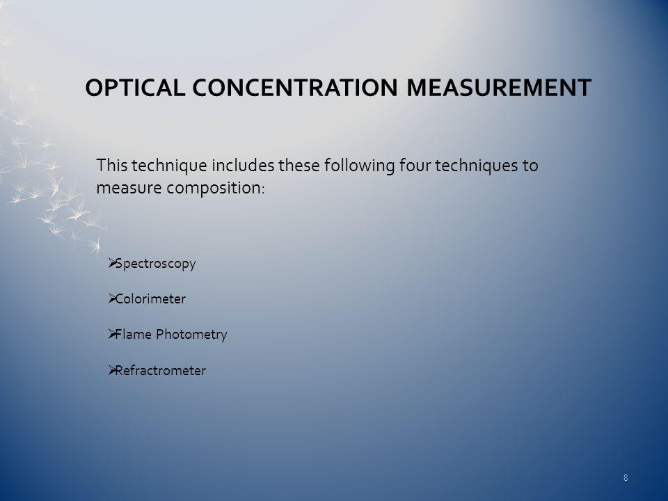 OPTICAL CONCENTRATION MEASUREMENT This technique includes these following four techniques to measure composition: Spectroscopy Colorimeter Flame Photo