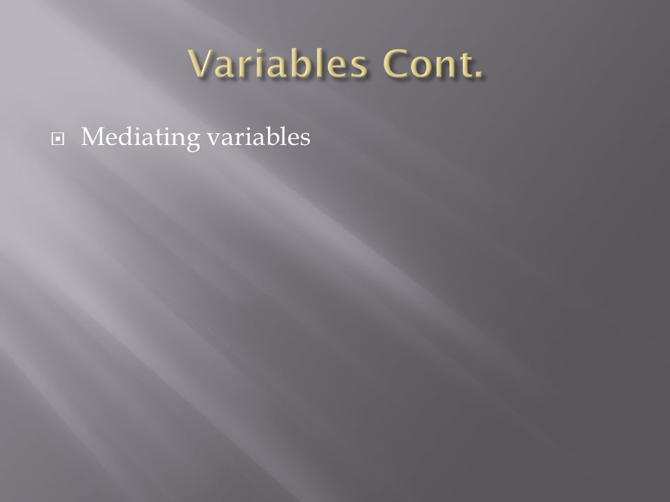 Mediating variables