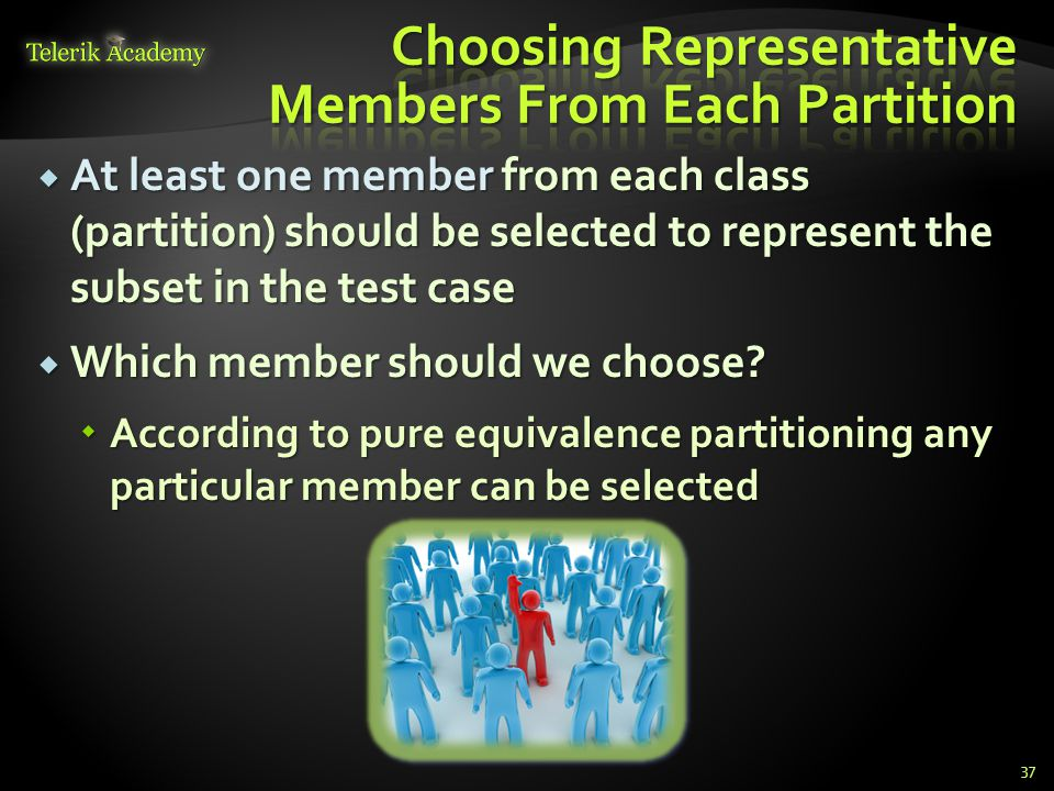 At least one member from each class (partition) should be selected to represent the subset in the test case At least one member from each class (partition) should be selected to represent the subset in the test case Which member should we choose.