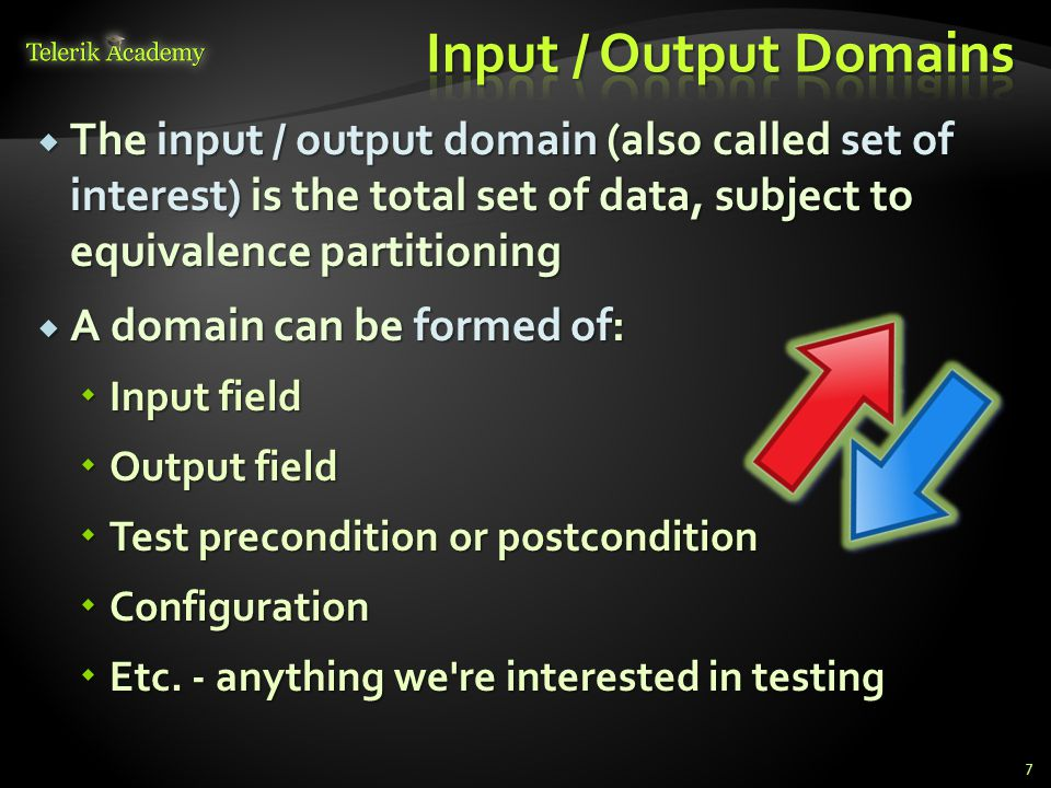 The input / output domain (also called set of interest) is the total set of data, subject to equivalence partitioning The input / output domain (also called set of interest) is the total set of data, subject to equivalence partitioning A domain can be formed of: A domain can be formed of: Input field Input field Output field Output field Test precondition or postcondition Test precondition or postcondition Configuration Configuration Etc.