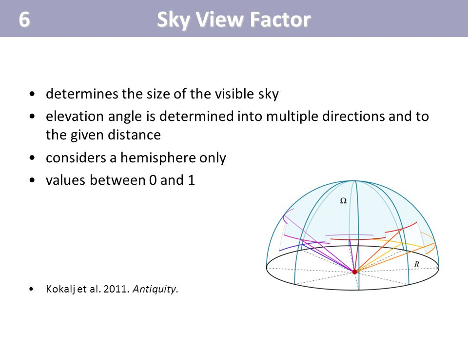 determines the size of the visible sky elevation angle is determined into multiple directions and to the given distance considers a hemisphere only va