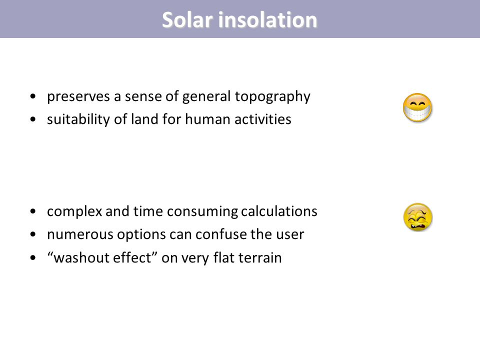 Solar insolation preserves a sense of general topography suitability of land for human activities complex and time consuming calculations numerous opt