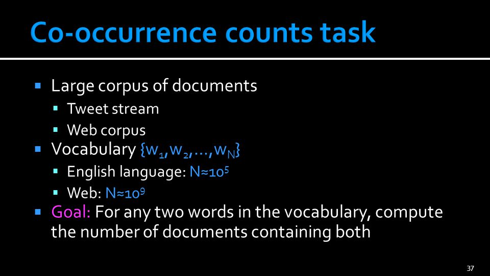 Large corpus of documents Tweet stream Web corpus Vocabulary {w 1,w 2,…,w N } English language: N10 5 Web: N10 9 Goal: For any two words in the vocabu