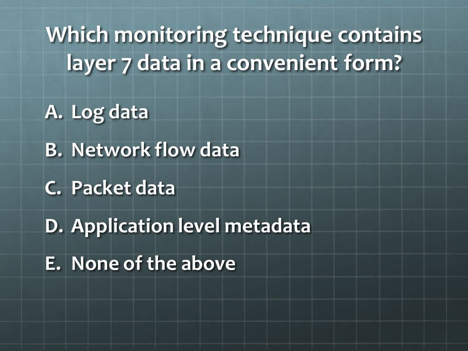 Which monitoring technique contains layer 7 data in a convenient form.