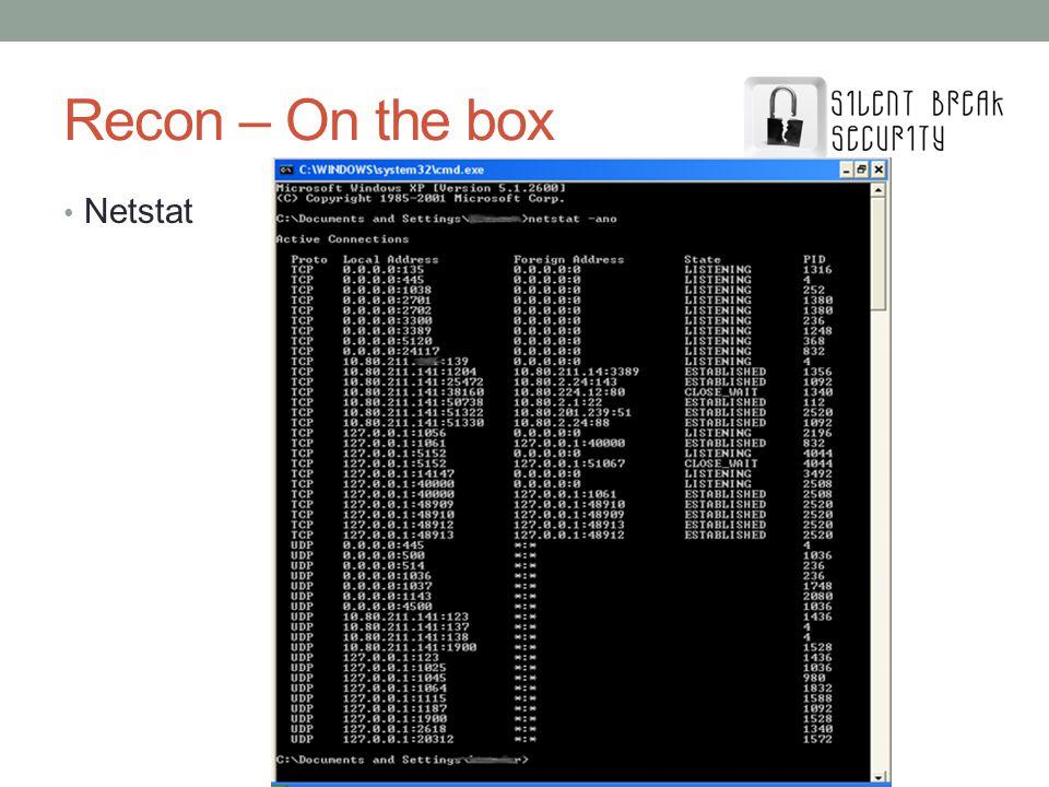 Recon – On the box Netstat