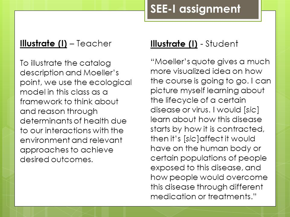 SEE-I assignment Illustrate (I) - Student Moellers quote gives a much more visualized idea on how the course is going to go.