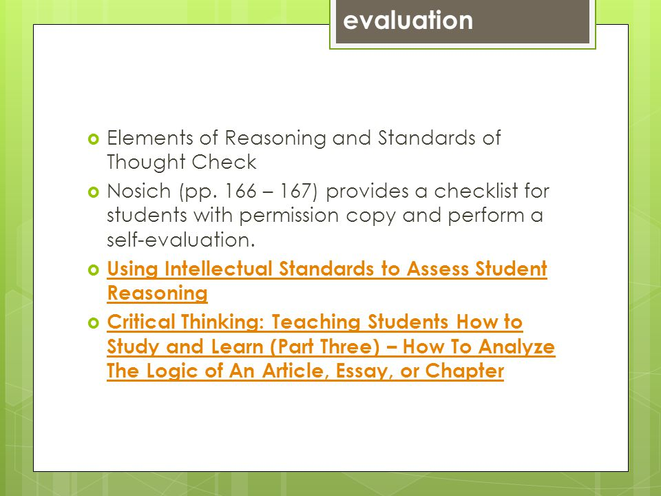 Elements of Reasoning and Standards of Thought Check Nosich (pp.