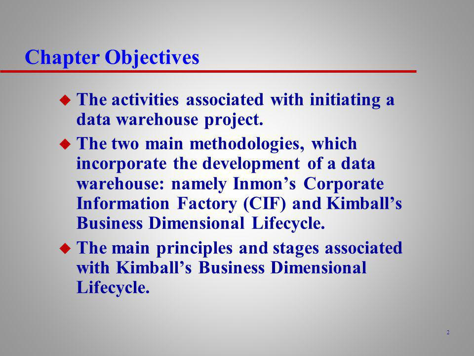 Kimballs Business Dimensional Lifecycle u Starts by identifying the information requirements (referred to as analytical themes) and associated business processes of the enterprise.