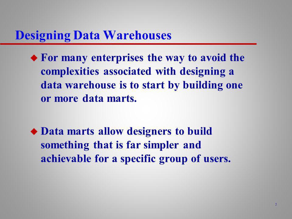 46 Data Warehouse Development Issues u Selection development methodology.