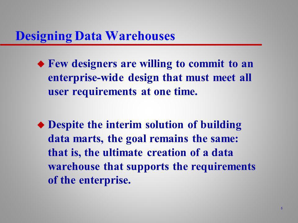 47 Data Warehouse Development Issues u Establishment of characteristics of the data e.g.