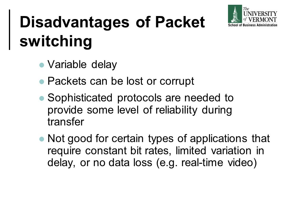 Disadvantages of Packet switching Variable delay Packets can be lost or corrupt Sophisticated protocols are needed to provide some level of reliabilit