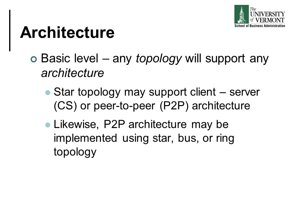 Architecture Basic level – any topology will support any architecture Star topology may support client – server (CS) or peer-to-peer (P2P) architectur