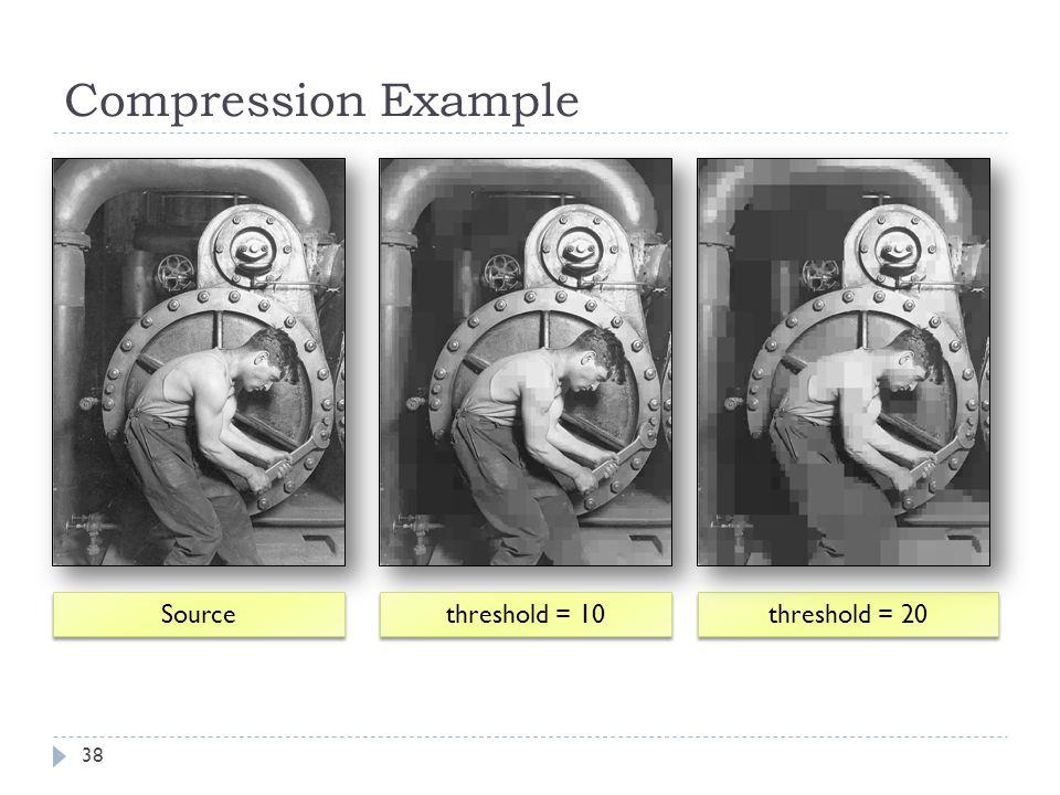 Compression Example Source threshold = 10 threshold = 20 38
