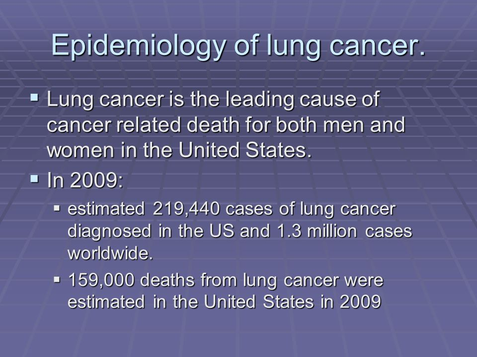 Epidemiology of lung cancer. Lung cancer is the leading cause of cancer related death for both men and women in the United States. Lung cancer is the