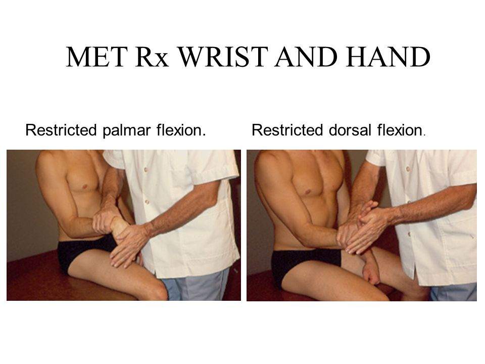 MET Rx WRIST AND HAND Restricted palmar flexion.Restricted dorsal flexion.