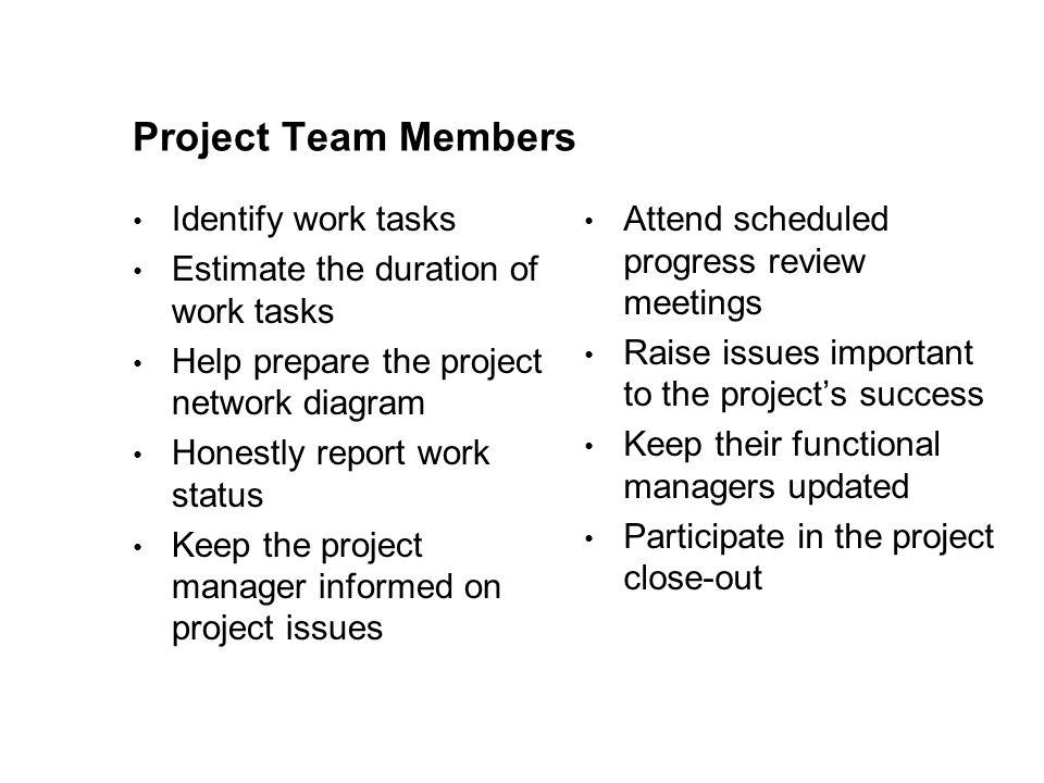 Project Team Members Identify work tasks Estimate the duration of work tasks Help prepare the project network diagram Honestly report work status Keep