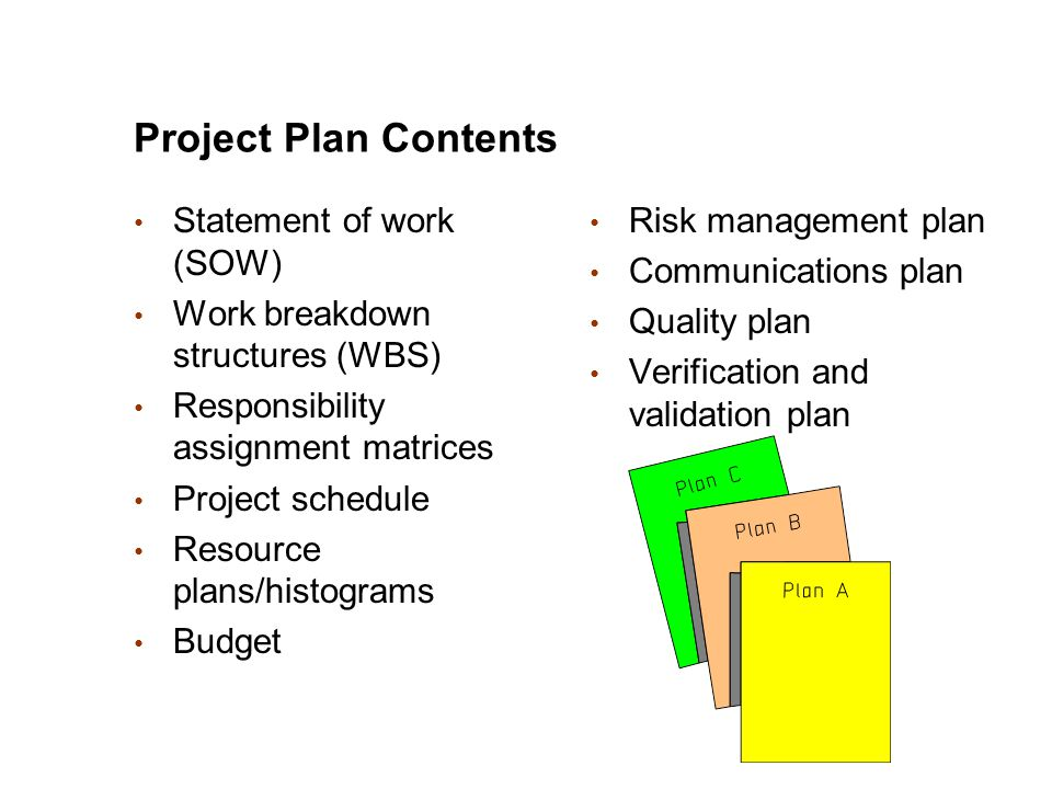 Project Plan Contents Statement of work (SOW) Work breakdown structures (WBS) Responsibility assignment matrices Project schedule Resource plans/histo